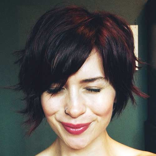 Dark-Brown-Pixie-Bob Latest Trend Hair Color Ideas for Short Hair