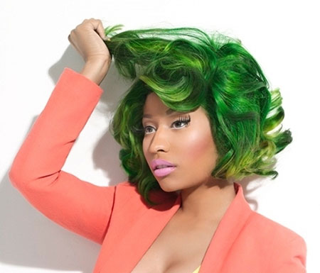 Green-Colored-Short-Curly-Haircut Short Haircuts and Color Ideas