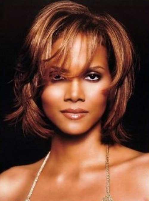 Halle-Berry-Bob-Cut-with-Fine-Bangs Short Bob Haircuts for Black Women