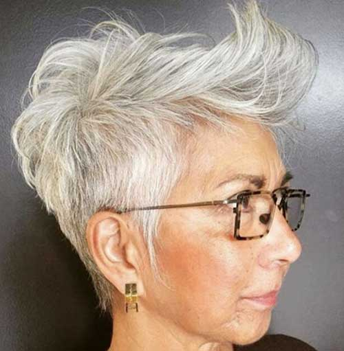 Long-Top-Short-Hair Short Hairstyles for Older Women with Thin Hair