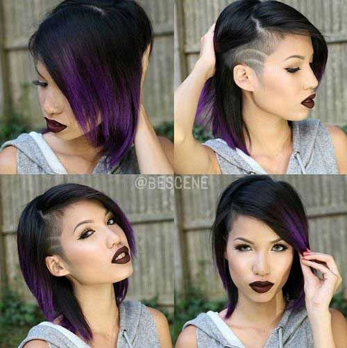 Medium-Short-Haircut-with-Side-Shaved Best Hairstyles for Short Medium Hair