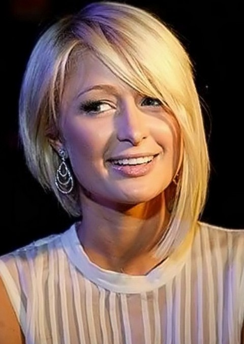 Paris-Hilton-Asymmetrical-Bob-Hairstyle-with-Bangs Popular Short Hairstyles for Women 2019