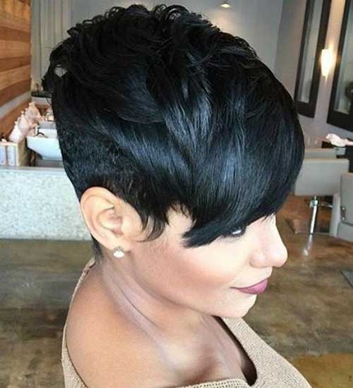 Pixie-with-Long-Bangs Easy Short Hairstyles for Black Women 2019