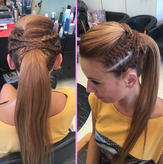Ponytail-with-Braids Cute French Braid Hairstyles for Girls