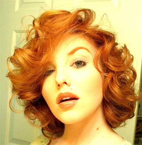 Pretty-Orange-Red-Color-for-Curly-Hair Short and Curly Hairstyles 2019