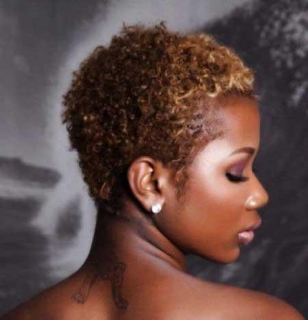Really-Short-Dark-Blonde-Curls Short Hairstyles for Black Women