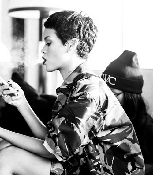 Rihanna-very-short-hair Top Celebrity Short Haircuts