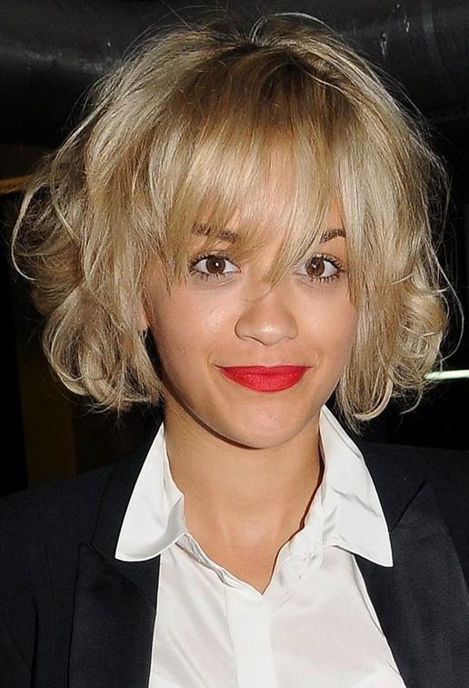 Rita-Ora-Short-Messy-Bob-Hairstyle-with-Full-Bangs Popular Short Hairstyles for Women 2019