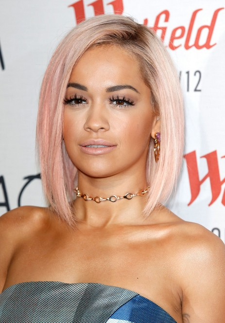 Rita-Ora-Short-Pink-Asymmetrical-Bob-Cut Popular Short Hairstyles for Women 2019