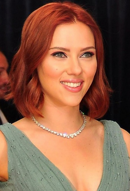 Scarlett-Johansson-Short-Red-Bob-Hairstyle-with-Waves Popular Short Hairstyles for Women 2019