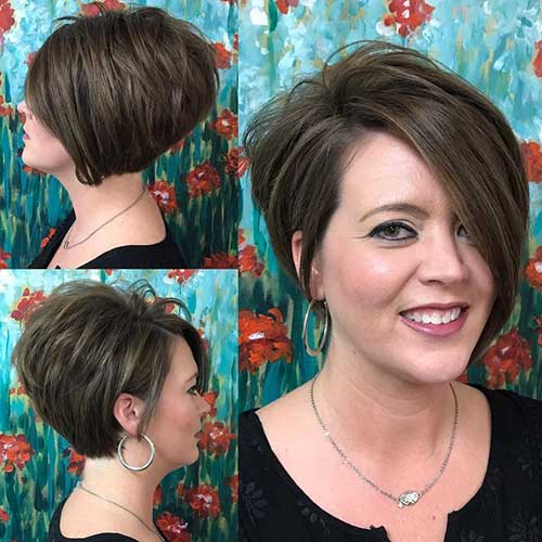 Sharp-A-Line-Bob Charming Short Brunette Hairstyles