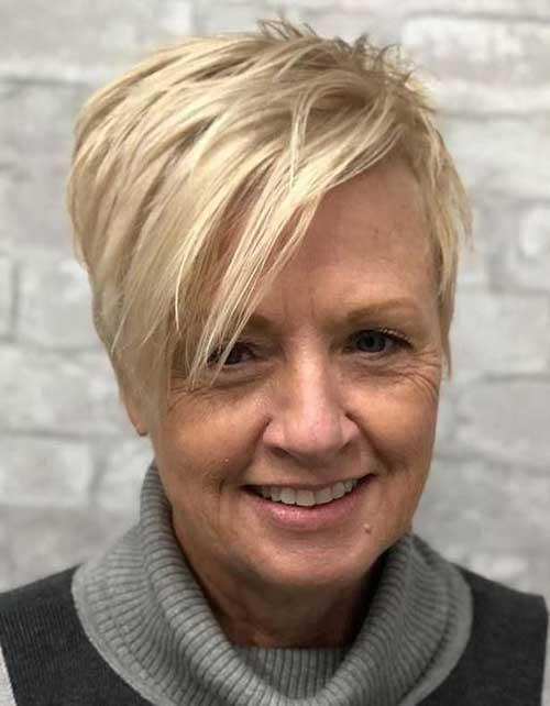 Short-Blonde-Hairstyle-Older-Women Short Hairstyles for Older Women with Thin Hair