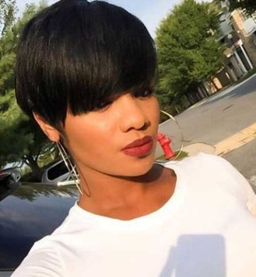 Short-Hair-with-Bangs-Black-Girl Easy Short Hairstyles for Black Women 2019