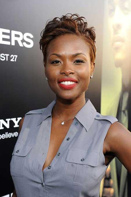 Short-Light-Brown-Curly-Hair Nice Short Haircuts for Black Women