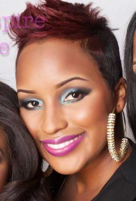 Short-Rebellious-Pink-Hair Nice Short Haircuts for Black Women