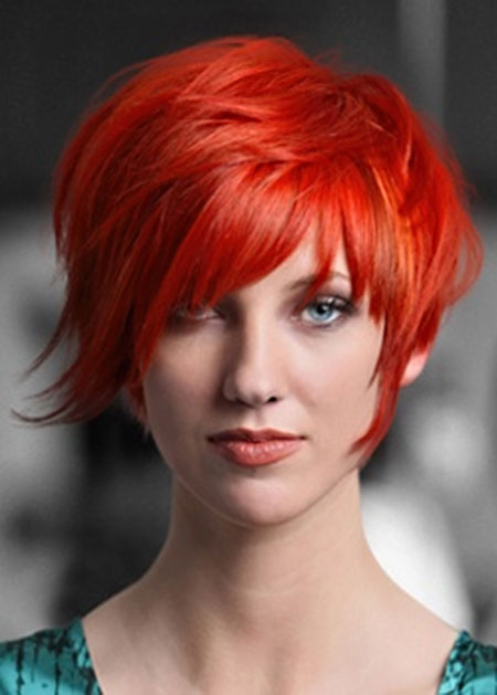 Short-Red-Hair-with-Bang Short Haircuts and Color Ideas