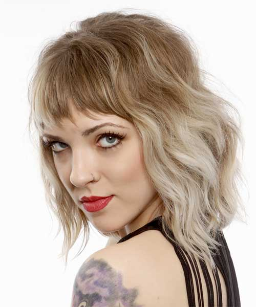 Short-Wavy-Ombre-Hair-With-Bangs Short Wavy Hairstyles With Bangs