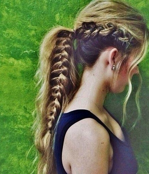Side-French-Fishtail-Braid-Ponytail Cute French Braid Hairstyles for Girls