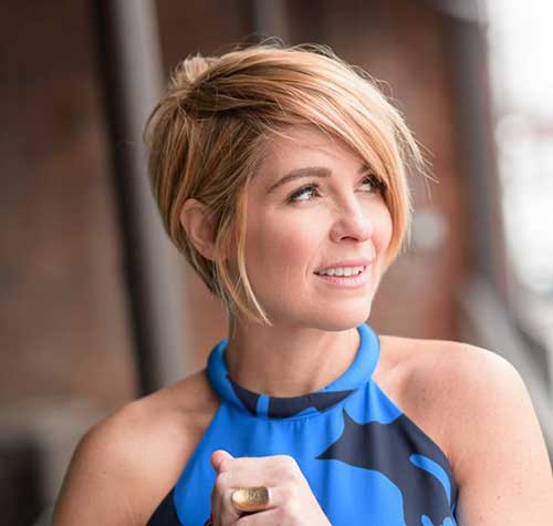 Side-Swept-Short-Hair Short Haircuts for Round Face Shape