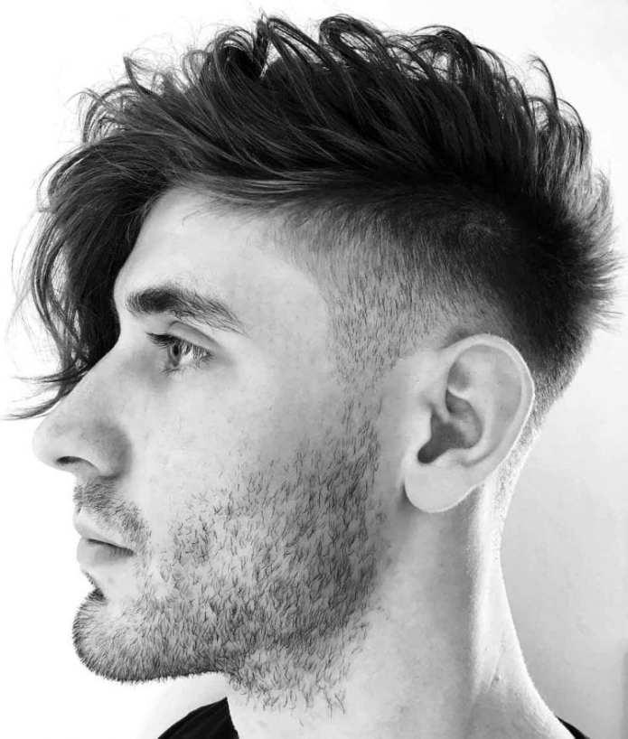 Side-Swept-Undercut-Faux-Hawk-Angular-Fringe Stylish Undercut Hairstyle Variations For 2019