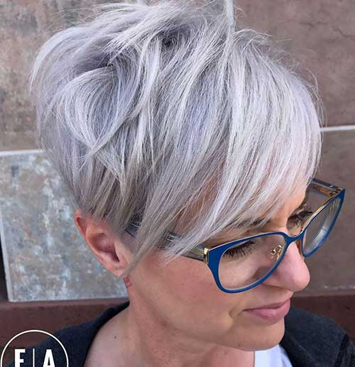 Silver-Pixie-with-Long-Layers Latest Trend Hair Color Ideas for Short Hair