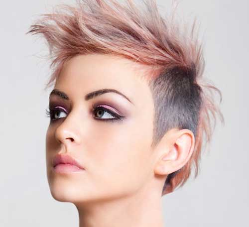 Spiky-Punk-Short-Dark-and-Pink-Hair Best Punky Short Haircuts