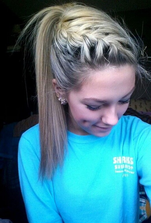 Top-French-Braid-Ponytail Cute French Braid Hairstyles for Girls