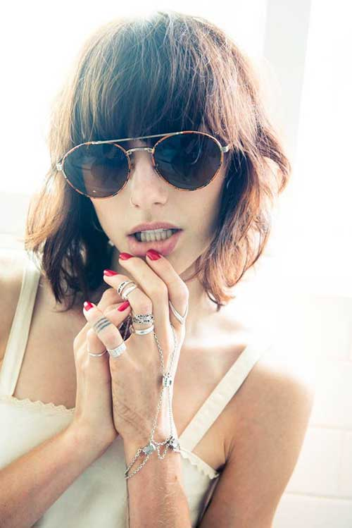 Trendy-Wavy-Hairstyle-with-Bangs Short Wavy Hairstyles With Bangs