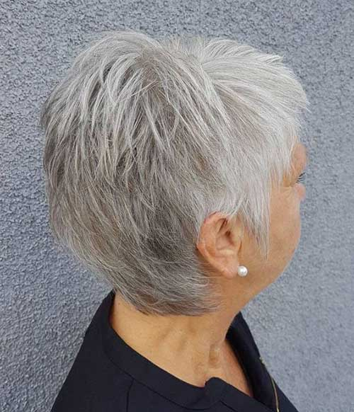 White-Grey-Pixie 2019 Short Haircuts for Older Women