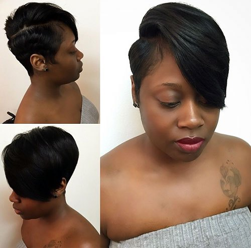 African-American-Floppy-Side-Pixie-Cut-for-Medium-Hair Trendy African American Pixie Haircuts for Short Hair – Straight, Curls