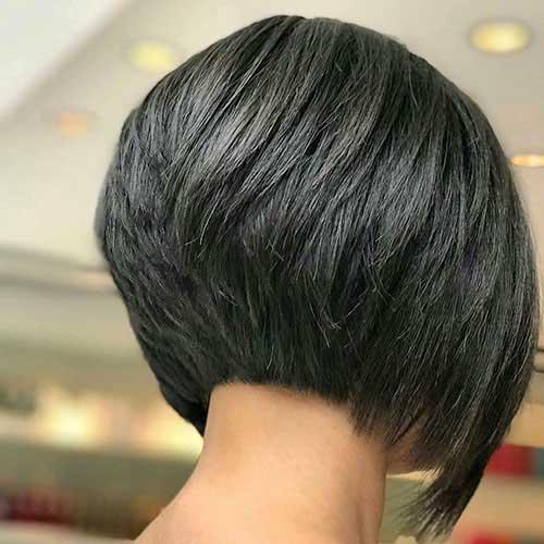Angled-Bob-Hair Back View Of Short Layered Haircuts