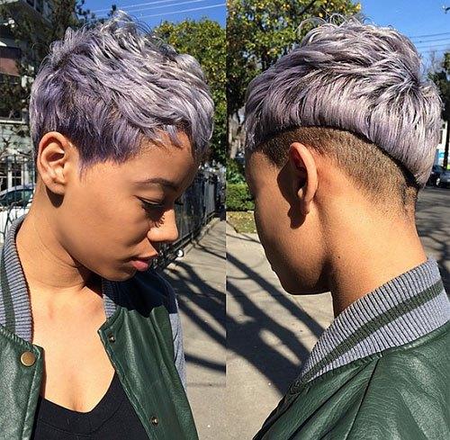 Asymmetrical-Lilac-Pixie-–-Purple-Pixie-Cut-for-Short-Hair Trendy African American Pixie Haircuts for Short Hair – Straight, Curls