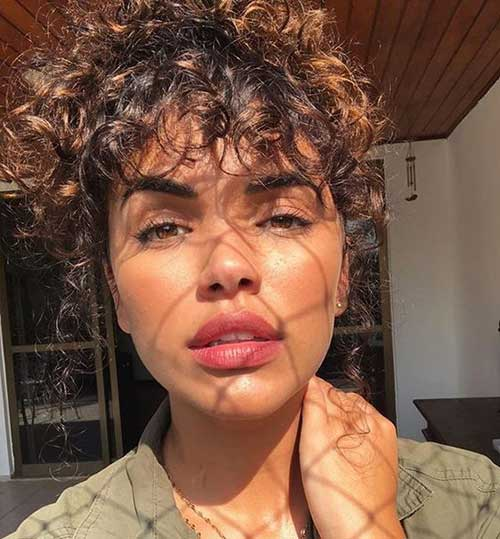 Bangs-Look Cute Short Curly Hairstyles for Sweet View
