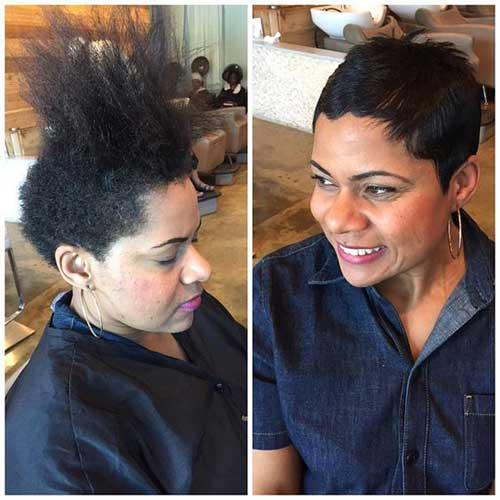 Before-and-After Latest Short Pixie Cuts for Black Women