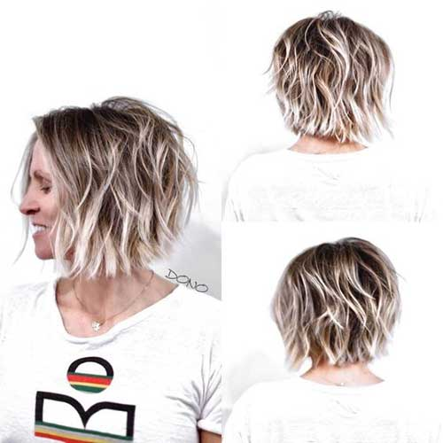Bronde-Bob-with-Beach-Waves Short Wavy Hairstyles for Women with Style
