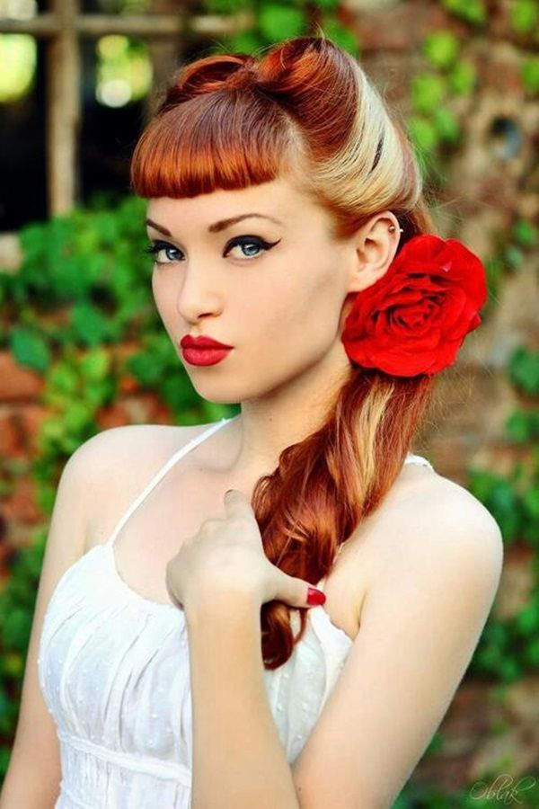 Colored-Retro-Hairstyle-With-Flower Elegant Retro Hairstyles 2019 – Vintage Hairstyles for Women