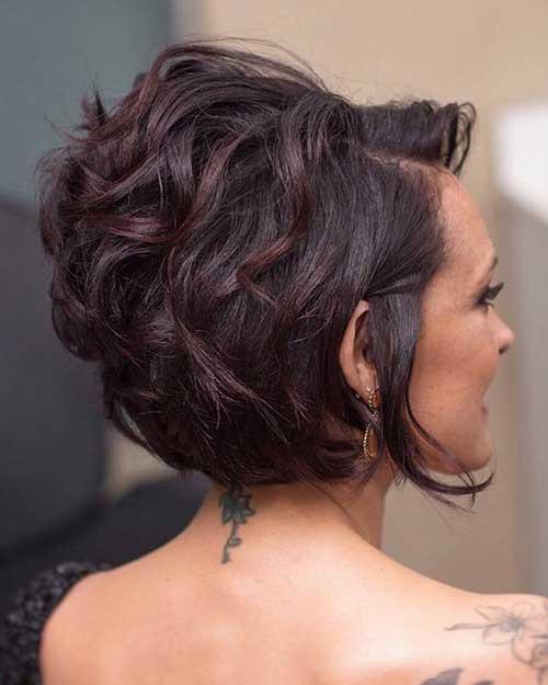 Curly-Bob Back View Of Short Layered Haircuts