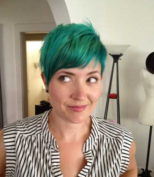 Cute-Green-Blue-Short-Haircut Short Hair with Color 2019
