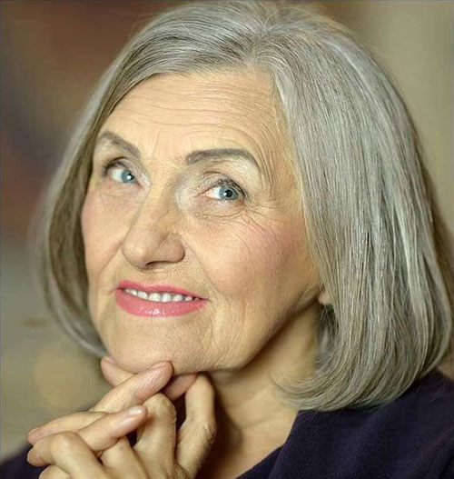 Fine-Grey-Hair Bob Haircuts for Older Women Chic Look