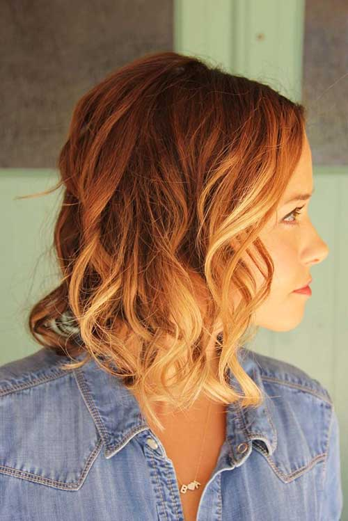 Ginger-Ombre-Colored-Short-Hairstyle Short Hair with Color 2019