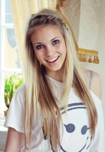 Long-Straight-Hairstyle-with-Braided-Bangs Great Layered Hairstyles for Straight Hair 2019