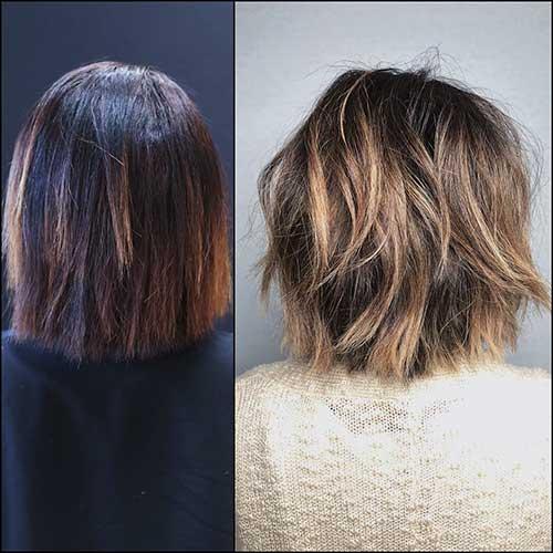 Messy-Hair Back View Of Short Layered Haircuts