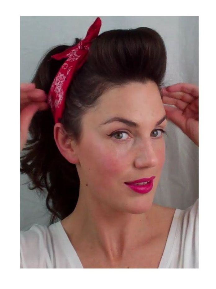 Pinned-Up-Hair-With-Bandana-for-Retro-Hairstyles Elegant Retro Hairstyles 2019 – Vintage Hairstyles for Women