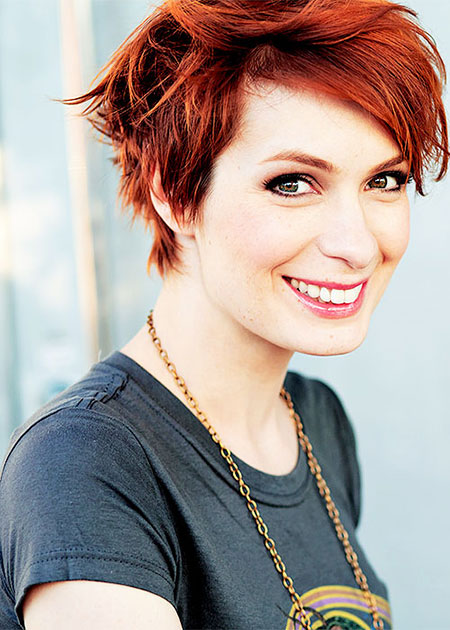 Red-Colored-Messy-Edged-Hairdo Cute Ideas for Short Hair