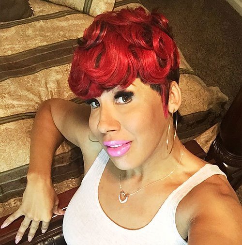 Red-Curls-–-Red-Pixie-Cut-–-Short-African-American-Pixie-Cut-with-Bright-Color Trendy African American Pixie Haircuts for Short Hair – Straight, Curls