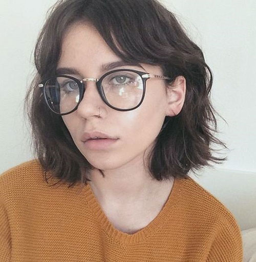 Round-Glasses-with-Bangs Most Pretty Short Wavy Hair with Bangs Ideas