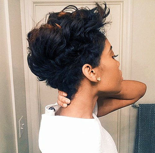 Scruffy-Pixie-–-Layered-Pixie-Cut-for-Black-Women Trendy African American Pixie Haircuts for Short Hair – Straight, Curls
