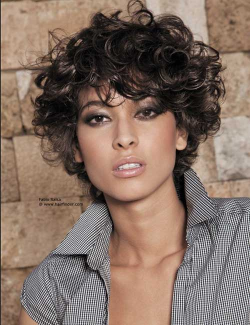 Short-Frizzy-Curly-Casual-Dark-Hair Short Haircuts For Curly Frizzy Hair