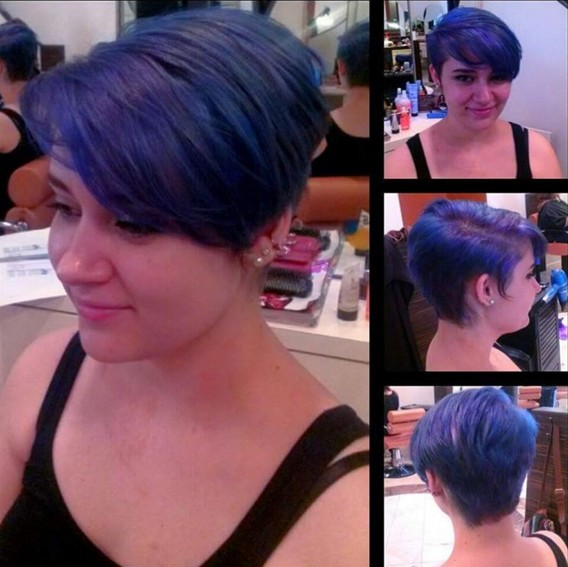 Short-Layered-Pixie-Hairstyle-for-Blue-Hair Beautiful Short Hairstyles for Round Faces 2019