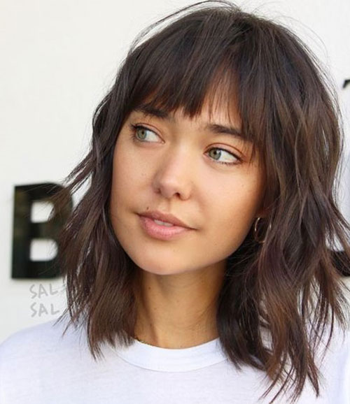 Short-Layered-Shag-Haircut-with-Bangs Most Pretty Short Wavy Hair with Bangs Ideas
